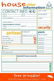 House Sitting Checklist House Sitter Printable Pet Sitting Business Home Sitter