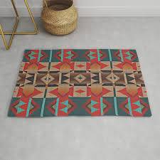 native american indian tribal mosaic rustic cabin pattern rug