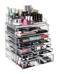5 tier acrylic makeup storage organiser clear cosmetic organiser 4 drawer storage flip top