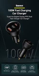 Baseus PD 100W USB araç şarj cihazı hızlı şarj 4.0 QC4.0 QC3.0 tip C USB  otomatik şarj cihazı için hızlı şarj iPhone Xiaomi cep telefonu Mobile  Phone Chargers