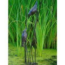 birds on reed cast iron garden
