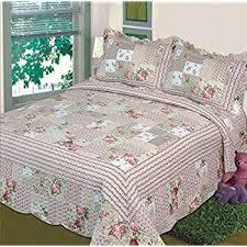 Amazon.com: Fancy Linen 3pc Bedspread Quilted Bed Cover Queen/king ... & Fancy Collection 3pc Bedspread Bed Cover Pink Beige Green Flowers (Queen) Adamdwight.com