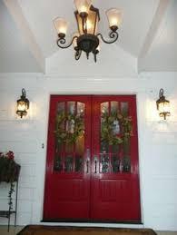 red double front doors. Brilliant Red Red Double Front Doors White Siding Exterior Chandelier Throughout Double Front Doors W