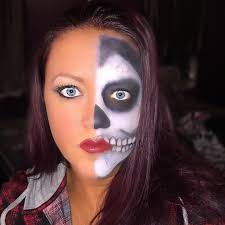 skull half face makeup idea