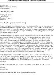 Resume Cover Letter For Embedded Software Engineer Adriangatton Com