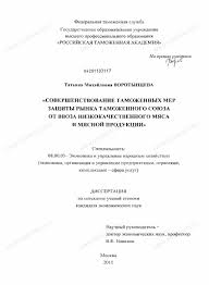 Диссертация на тему Совершенствование таможенных мер защиты рынка  Диссертация и автореферат на тему Совершенствование таможенных мер защиты рынка таможенного союза от ввоза низкокачественного
