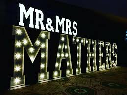 Mr And Mrs Light Up Sign Hire Mr Mrs Surname Blue Goose Wedding Event Hire