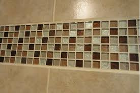 mosaic wall decor: natural ground color scheme bathroom wall decor with mosaic glass bathroom wall trim idea and square mosaic tile bathroom wall accent bathroom decoration