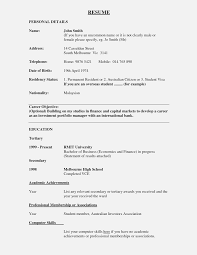 Child Acting Resume Template No Experience Sample Resume For Bank