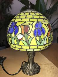 vintage table lamp tiffany style stained glass flowers 11 5 mini desk light old 1 of 8 see more