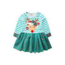 Nannette Baby Clothing Size Chart Christmas Baby Girls Dress Toddler Kids Striped Princess Deer Tulle Tutu Dresses