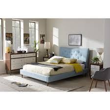 Hannah Linen Platform Bed  Button Tufted  DCG StoresLinen Platform Bed