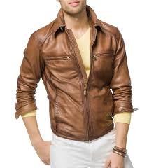 tan brown men biker leather jackets1