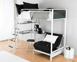 image of chic full size metal loft bed with desk