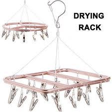 Aluminum Alloy <b>Clothes Hanger Multi</b>-<b>clips</b> Windproof <b>Round</b> ...