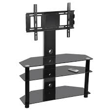 black glass three tiers shelves corner tv stand with mount for flat screen modern black