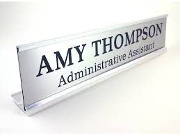 personalized desk name plate nameplate silver look with silver aluminum holder 2 x 10 inches great office gift
