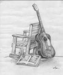 guitar chair book still life