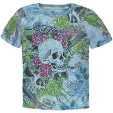 Ed Hardy Flower Design Ed Hardy Skull Girls Juvy T Shirt Shirts Floral Skull