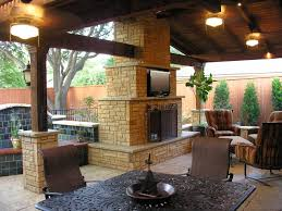 backyard patio designs with fireplace