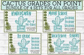 Svg Bundle School Cactus Grades On Point 4 Piece Set