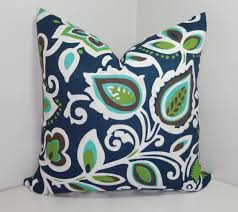 OUTDOOR Pillow Cover Navy Blue Green Floral Pillow Cover Deck
