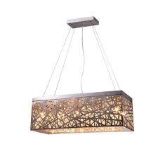 layla 8 light chrome indoor crystal rectangular pendant 14298 the home depot