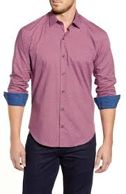 Bugatchi Shaped Fit Geo Print Button Up Sport Shirt Nordstrom