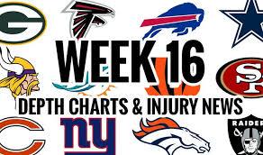 2018 Nfl Depth Charts Nfl Week 16 Depth Chart Injury News