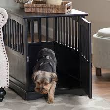Amazon.com: Dog Crate Kennel Cage Bed Night Stand End Table Wood Furniture  Cave House Room Large size / Black.: Pet Supplies