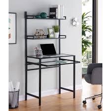 Desks small spaces Unique Brax Metalglass Smallspace Desk W Hutch Black Desks Home Office Shop Papugarnia Brax Metalglass Smallspace Desk W Hutch Black Desks Home