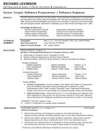 Resume Examples Resume Sample For Software Engineer Profile Of