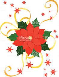 Roter Weihnachtsstern Mit Goldschleife Stock Illustration