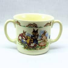 bunnykins royal doulton 2 handled childs mug fine bone china mother bunny with baby buggies hallmarked collectible vine baby gift