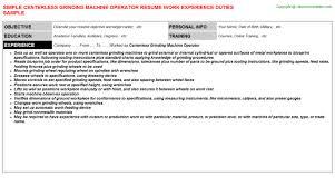 Centerless Grinding Machine Operator Resume | Resumes Templates ...