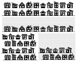 シンプルな家の並びシルエット イラスト素材 4907433 フォト