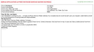 room service waiter waitress application letter waitress application