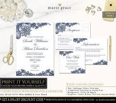 Wedding Invitation Set Templates Wedding Invitation Navy Blue And Lace Wedding Invitation Template