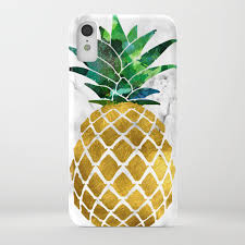 Gold Leaf Pineapple On Marble Background Iphone Case