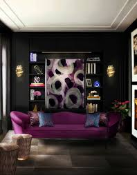 Purple Decorations For Living Room Purple Sofas Design Among Vintage Retro Decoration Style As