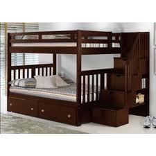 Donco Kids Full Over Mission Storage Stairway Bunk Bed in Cappuccino | Hugo Irving