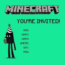 Minecraft Birthday Party Invitation Templates