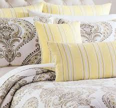 287 best Bedding images on Pinterest | Comforter set, Duvet cover ... & Tahari Home Cotton 3 Piece King Quilt Set Reversible Stripes Gray Yellow  Grey Beige Taupe White Adamdwight.com
