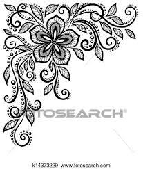 美しい 白黒 レース 花 中に Corner で スペース ために あなたの テキスト そして 挨拶