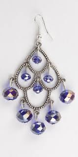 royal blue crystal and tibetian silver chandelier earrings