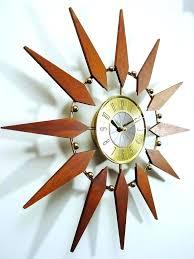 starburst clock vintage mid century by retro wall sunburst centu