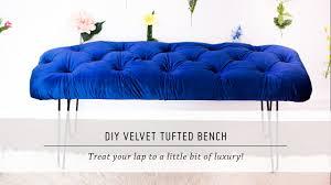 diy velvet tufted bench home decor tutorial interior design mr kate you