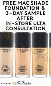 free mac shade foundation 3 day sle after in ulta consultation