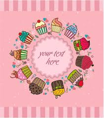 Cute Background Design With Cupcakes Illustration Free