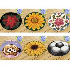 Details About Latch Hook Rug Patterns Rose Flowers Dogs Football Carpet Latch Hooking Kits